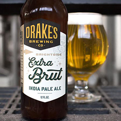 A bottle of Brightside Extra Brut IPA